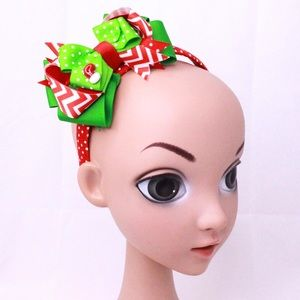 Holiday Hairbow on Headband (Detachable)